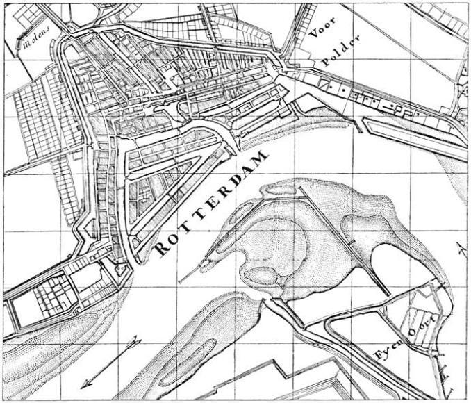 Plattegrond van Rotterdam in het begin van de 18e eeuw.