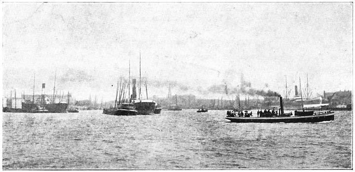 Gezicht op de rivier de Maas te Rotterdam. (ca. 1905)
