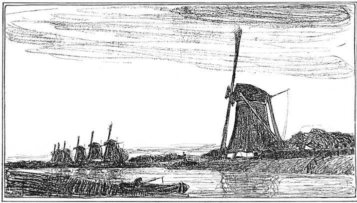 Zeven molens bij Rotterdam.