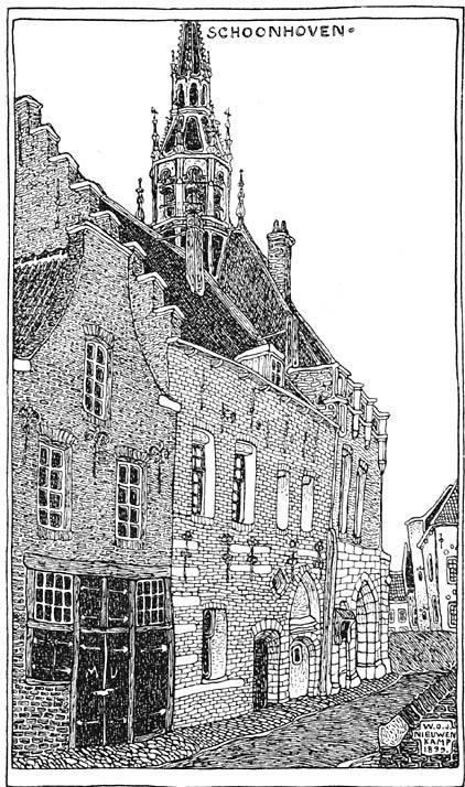 Zijgevel van het stadhuis te Schoonhoven.