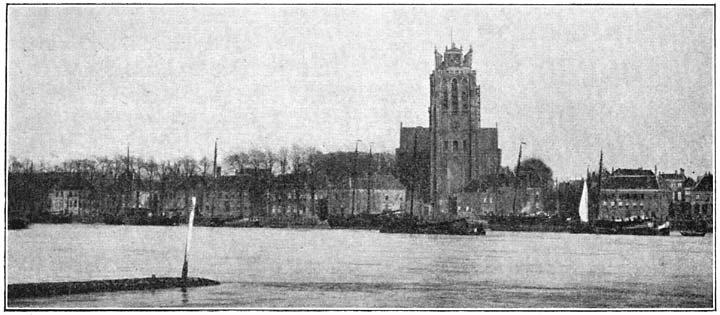 Gezicht op Dordrecht van Zwijndrecht af.