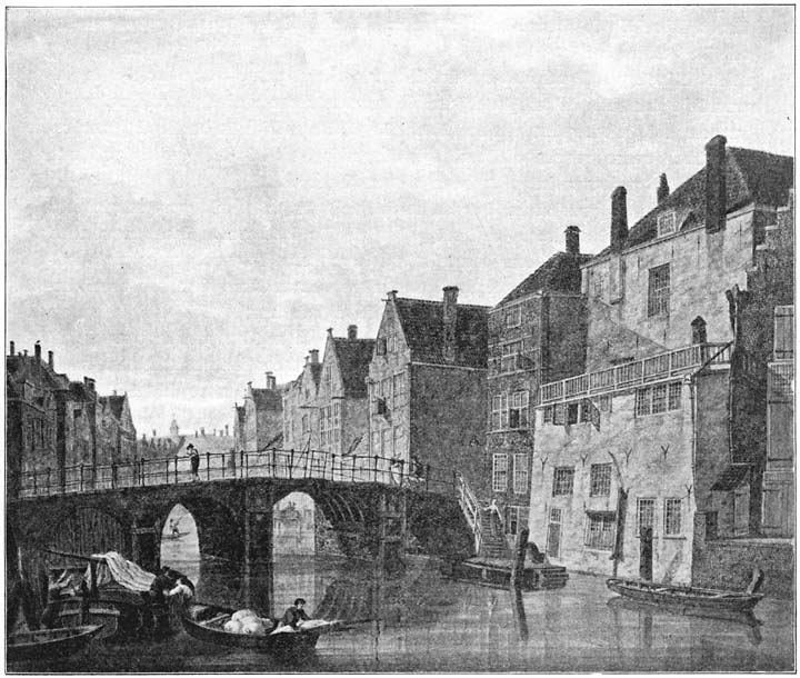 Wijnbrug (Voorstraatshaven), naar een aquarel van J. van Leksmond.