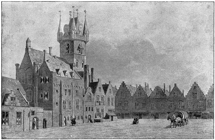 Het stadhuis en de markt te Sluis, naar een teekening ao 1739 op het gemeente-archief.
