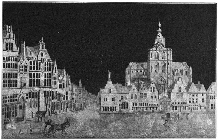Marktplein te Bergen-op-Zoom in de 18e eeuw.