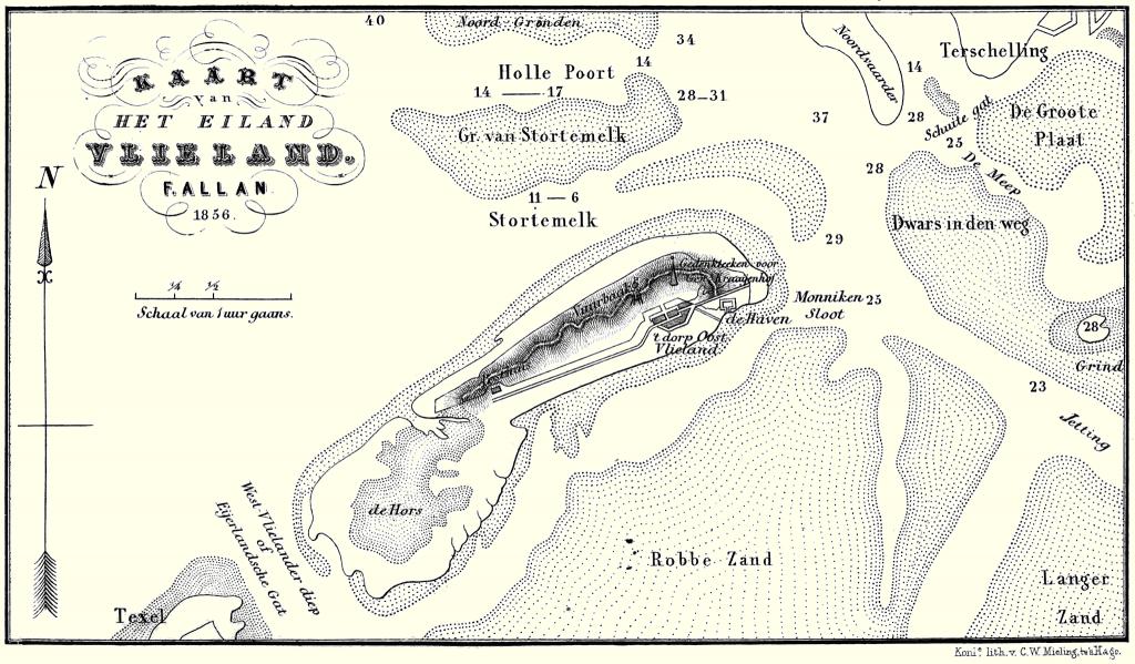 Kaart van het eiland Vlieland. F. Allan 1856.